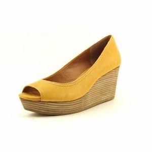 Lucky Brand Mustard Yellow Leather Peep Toe Wedge